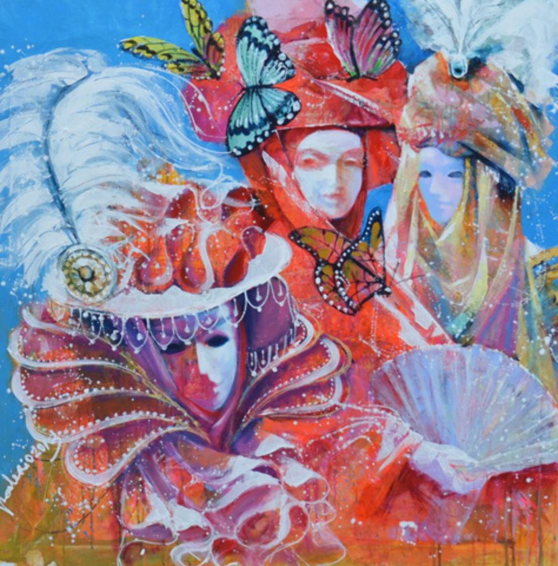 Masquerade Watercolor 2013 40x40 Huge Watercolor by Valeriy Vaskov