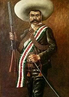 Zapata 1972 46x28 Huge Original Painting - Emigdio Vasquez