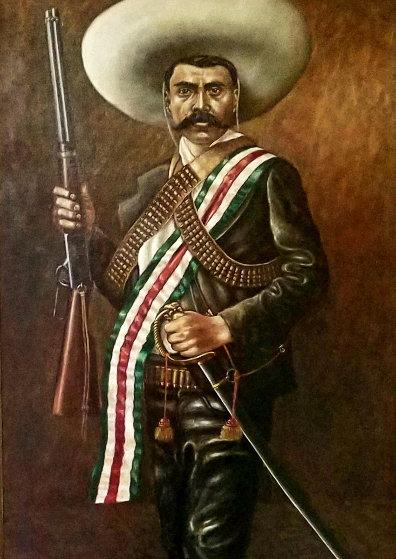 Zapata 1972 46x28 Original Painting by Emigdio Vasquez