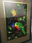 Lorikeet and Frog Watercolor 1996 18x12 Watercolor - Dean Vella