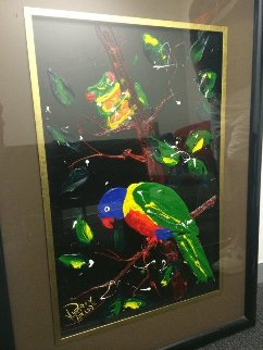 Lorikeet and Frog Watercolor 1996 18x12 Watercolor - Dean Vella