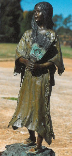 Tahtayween - The Shoshone Windwoman Bronze Sculpture  1983  21 in Sculpture - Vel Miller