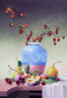 Blue Vase With Fruits 2010 19x14 Original Painting - Vena Grebenshikov