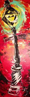 Lamp Post 2000 34x14 Original Painting - Vena Grebenshikov