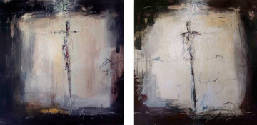 En Masse Revisited (Diptych) Beach 2009 30x60  Original Painting - James Verbicky
