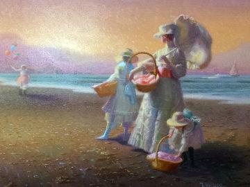 Sunset Beach 1984 35x40 Original Painting - James Verdugo
