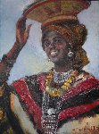 Amber Lady Zanzibar 24x18 Original Painting - Marie Vermeulen-Breedt