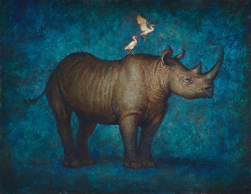Once, There Were Black Rhinos 2018 34x44 Super Huge Original Painting - Sequoia C.  Versillee