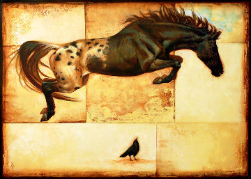 Horse Over Crow 2016 30x50 Super Huge Original Painting - Sequoia C.  Versillee