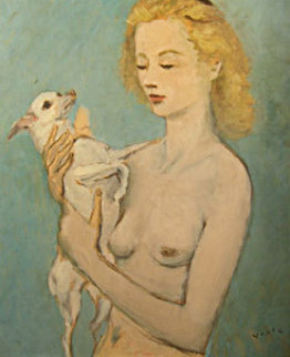 Young Girl With Dog 27x22 Original Painting - Marcel Vertes