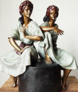 Gemelas Bronze Sculpture 1990 19x12 Sculpture by Victor Gutierrez