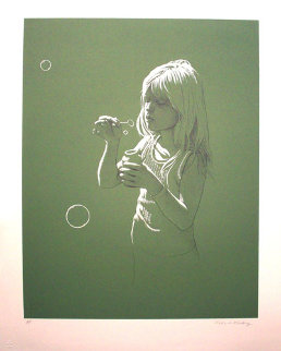 Girl Blowing Bubbles PP Limited Edition Print - Robert Vickrey