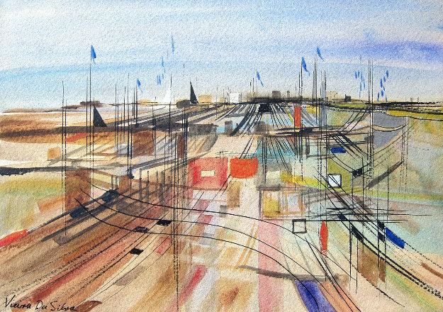 Untitled Watercolor 10x15 Watercolor by Maria Helena Vieira da Silva