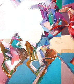 Lavender Path 1988 40x40 Huge Original Painting - Veloy Vigil