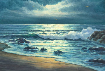 Evening Surf 1974 31x43 Original Painting - John Vignari
