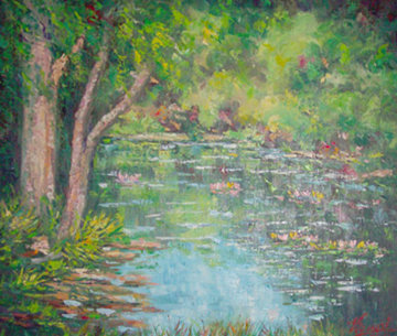 Pond of Serenity 1975 20x24 Original Painting - John Vignari