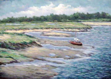 Marshes Wells Harbor at Ebb Tide 20x30 Maine Original Painting by John Vignari