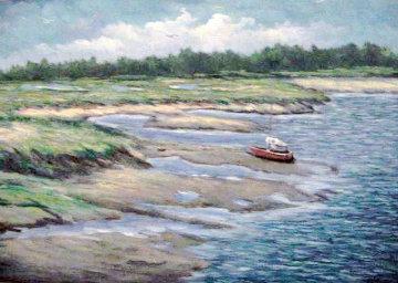 Marshes Wells Harbor at Ebb Tide 20x30 Maine Original Painting - John Vignari
