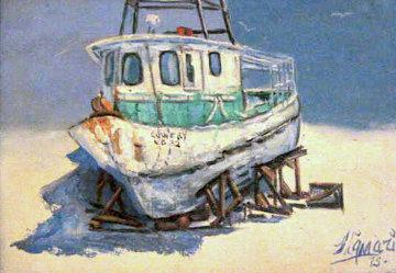 Concrete Boat, Florida Original Painting - John Vignari