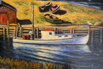 Lone Fisherman 20x30 Original Painting - John Vignari