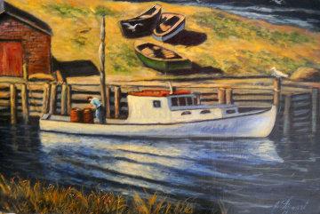 Lone Fisherman 20x30 Original Painting - John Vignari