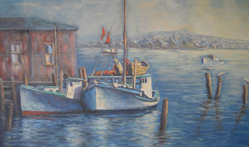Fishing Boats in Nova Scotia 24x40 Original Painting - John Vignari