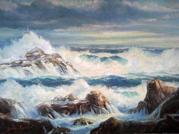 Rocky Seas 1964 24x36 Original Painting - John Vignari
