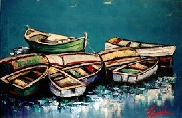 Boats 20x30 Maine Original Painting - John Vignari