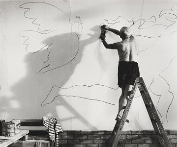 Picasso Working on the Fresco For the Film By Luciano Emmer, CA III 1953 Photography - Andre Villers
