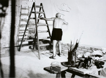 Picasso Working on the Fresco For the Film By Luciano Emmer II, 1953 Photography by Andre Villers