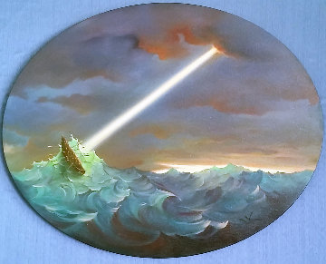 Ulysses Rough Waters 2000 32x30 Original Painting - Vladimir Kush