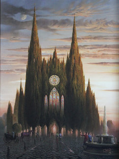 Purple Horse At Chartres 2006 Limited Edition Print - Vladimir Kush