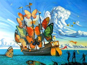 Departure of the Winged Ship 1999 Limited Edition Print - Vladimir Kush