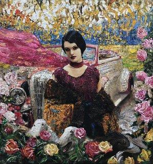 Lady in Purple 2012 56x54 Original Painting - Vladimir Mukhin