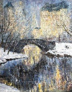 Christmas in New York Central Park 50x40 Huge Original Painting - Vladimir Mukhin