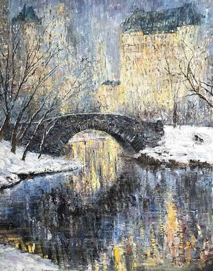 Christmas in Central Park 50x40 Original Painting by Vladimir Mukhin