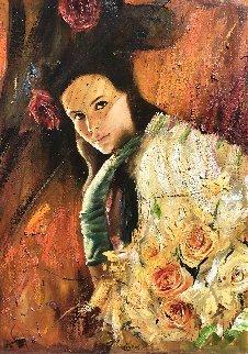 Girl With Roses 33x22 Original Painting by Vladimir Mukhin