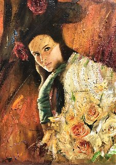 Girl With Roses 33x22 Original Painting by Vladimir Mukhin