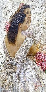 Two Sisters 2013 48x24 Huge Original Painting - Vladimir Mukhin