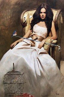 A Blue Bird 2015 72x48 Original Painting by Vladimir Mukhin