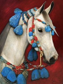 White Arabic 2007 40x30 Original Painting by Vladimir Mukhin