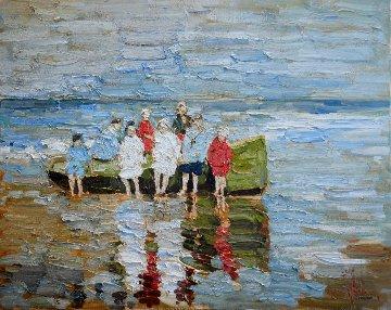 Green Boat 2017 24x30 Original Painting - Vladimir Mukhin