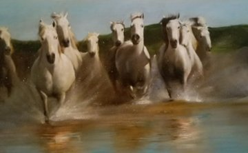Wild Horses 2002 30x50 Original Painting - Vladimir Mukhin
