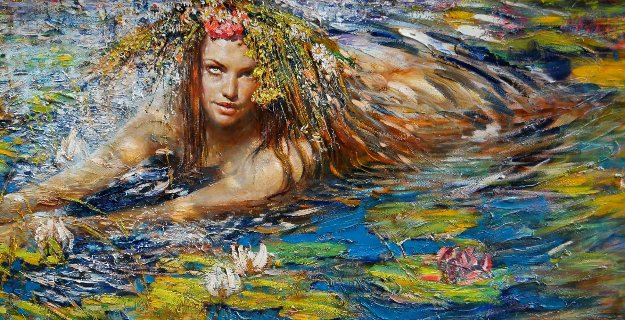 Mermaid 2017 32x56 Original Painting by Vladimir Mukhin