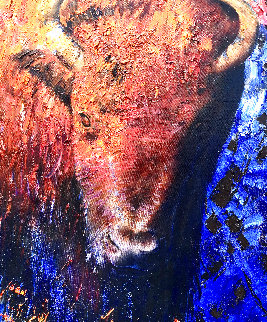 Buffalo At Sunset 2008 66x39 Super Huge Original Painting - Vladimir Mukhin