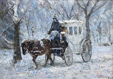 Christmas in Central Park Original Painting - Vladimir Mukhin