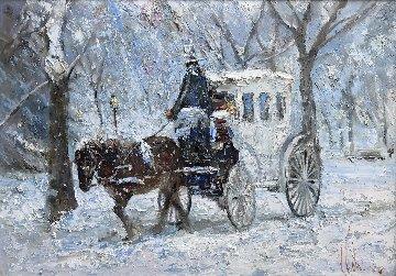 Christmas in Central Park Original Painting by Vladimir Mukhin