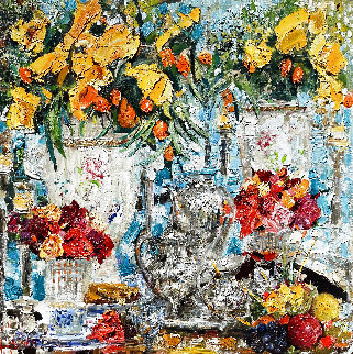 Yellow Callas 2011 42x42 Original Painting by Vladimir Mukhin