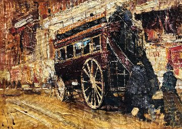 A Red Stagecoach 2009 18x24 Original Painting by Vladimir Mukhin