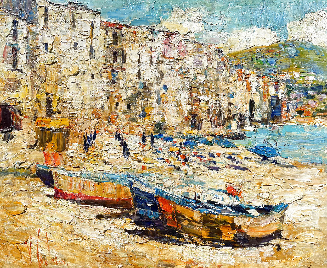 Sicily, Cefalu 2016 38x46 Super Huge Original Painting by Vladimir Mukhin